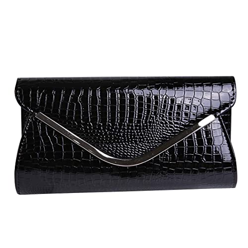 0100f6486e5 Womens Envelope Clutch Patent Croc Skin Embossed Fashion Shoulder Bags for  Party (black)