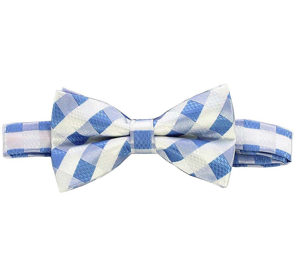L04BABY Blue White Striped Men Bowtie Set:Bowtie+Handkerchiefs+Pair Of Cufflinks