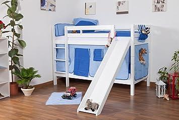 Etagenbett Weiß Mit Rutsche : Kinderbett etagenbett jonas buche vollholz massiv weiß lackiert mit
