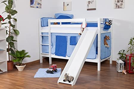 Etagenbett Rutsche Weiss : Kinderbett etagenbett jonas buche vollholz massiv weiß lackiert mit