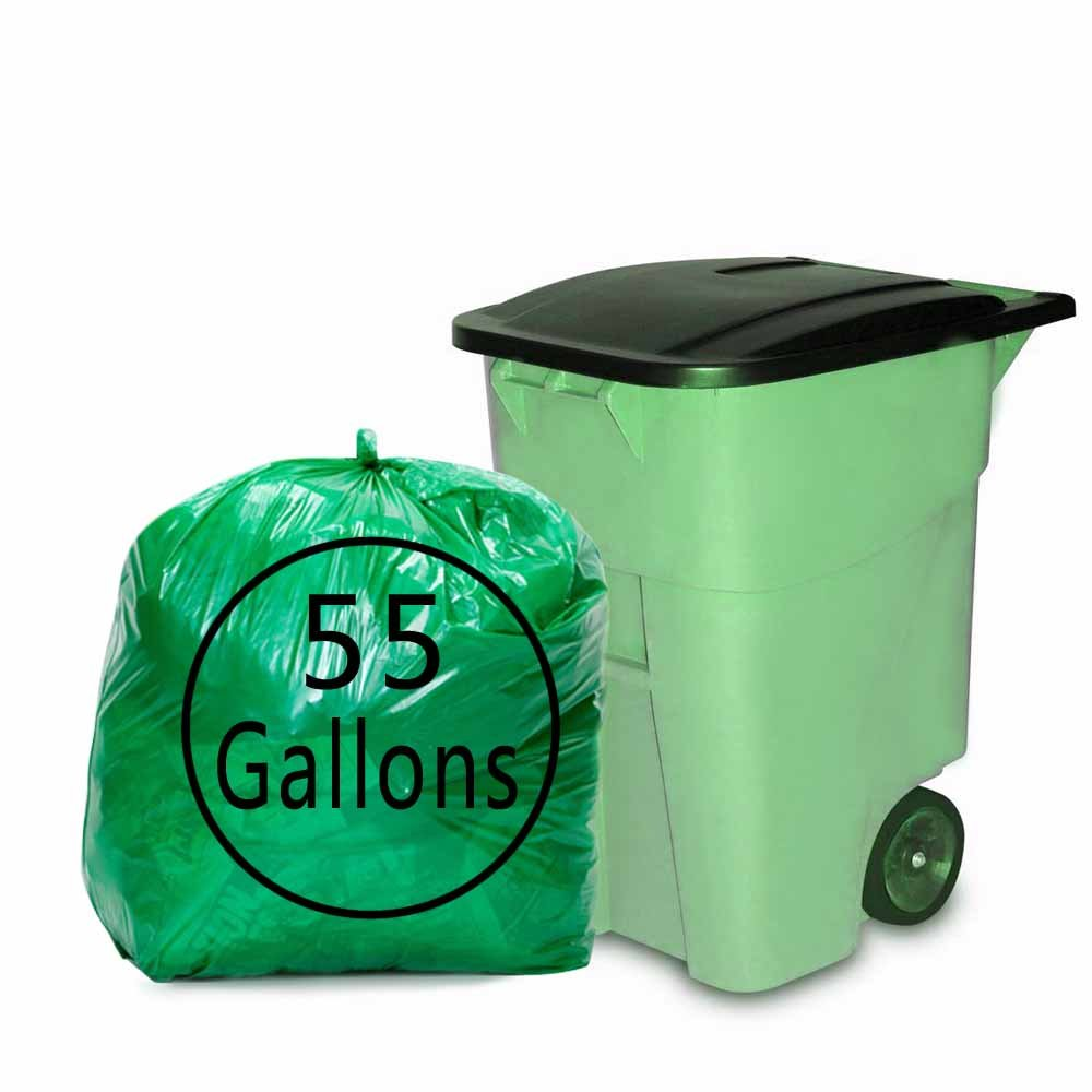 Kekow 55 Gallon Large Trash Bags, Green Drum Liners, 64 Counts