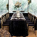 QueenDream Sequin Tablecloth-Black 90x132 Inch Glitz Overlays Table Fabric for Christmas Halloween Thanksgiving Day Party Home Decorations
