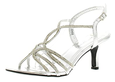 f4f72085d55bb7 Anne Michelle Ladies Womens Silver Sparkly Party Sandals with Diamante -  Silver - UK Size
