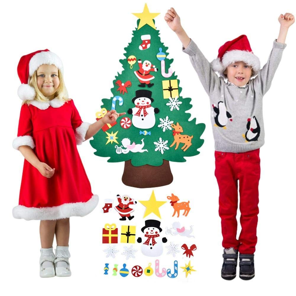 Felt Christmas Tree,Tutuba DIY Felt Christmas Tree Set Hanging Wall Decoration Stickers Christmas Ornaments Home Christmas Decoration by Tutuba