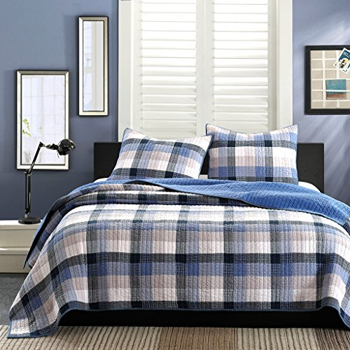 Ink+Ivy Maddox Twin Size Teen Boys Quilt Bedding Set - Navy, Black , Plaid – 2 Piece Boys Bedding Quilt Coverlets – 100% Cotton Yarn And Cotton Percale Bed Quilts Quilted Coverlet (Bedding Childrens Quilts)