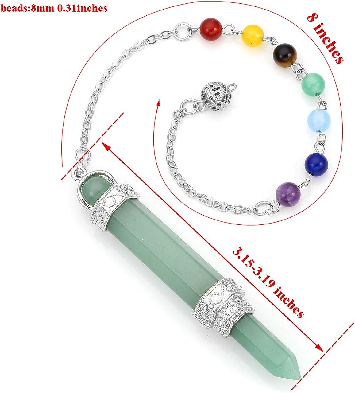 Chakra Pendantif Combinaison Bracelet am/éthyste JOVIVI Pendule Esoterisme Radiesth/ésie Divination Rod Agate Pierres 7