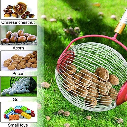SONGJOY Chestnuts Harvester,Garden Nut Collector,Rolling Nut Gatherer Adjustable Handle Ball Picker Pick Up Tool for Walnuts Pecans Crab Chestnut Acorns Balls Hickory Nuts