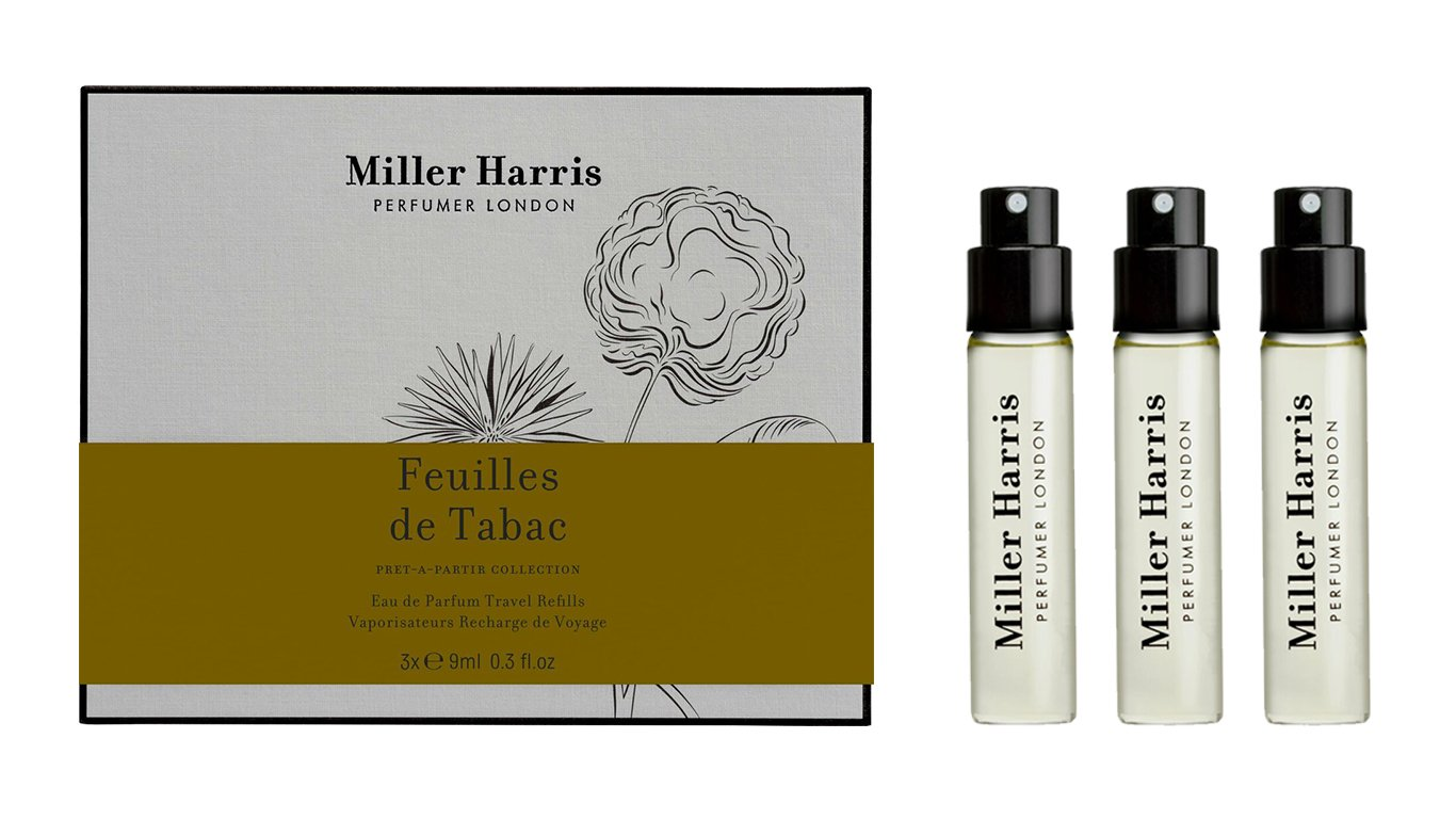 Miller Harris Feuille de Tabac Travel Spray Refills 3 x 9 ml Broadoak Toilettries TS/005