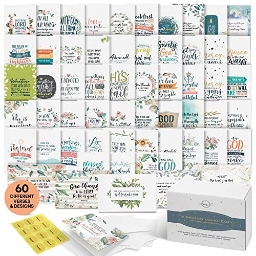 Bible Verse Cards - Set of 60 Unique Scripture Cards With 60 Different Designs and Inspirational Bible Verses. Christian Greeting Cards Assortment. Large Blank Note Cards, Envelopes and Gold Seals. (Inspirational Bible Verses)