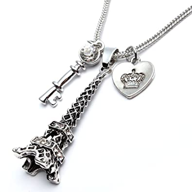 Amazon godyce heart key paris eiffel tower pendant necklace godyce heart key paris eiffel tower pendant necklace long women girl silver tone jewelry aloadofball Image collections