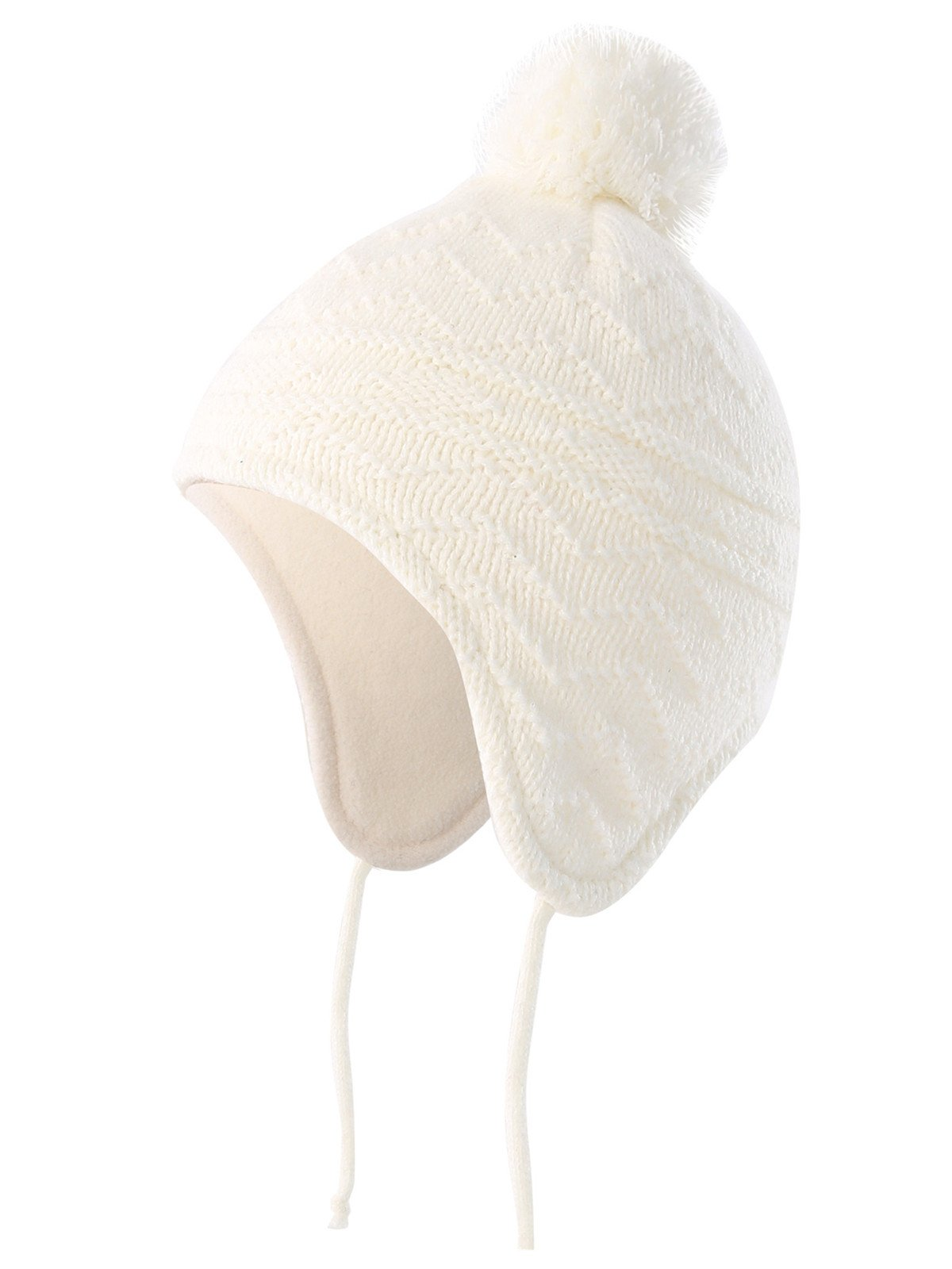 Connectyle Toddler Infant Baby Knit Kids Hat Fleece Lined Beanie Skull Cap with Earflap Warm Winter Beanies Cap,White,S:6M-1.5T(17.3inches-18.5inchesHead Girth)