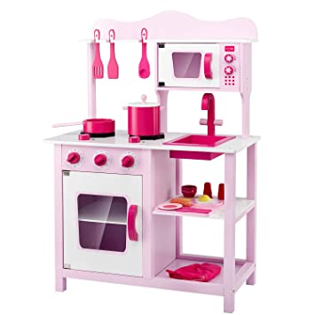 Lauraland Play Kitchen, Wooden Little Chef Pretend Play Kitchen Cooking Toy  Set with 16-Piece Cookware Accessories, Intelligent Toy Kitchen Playset ...