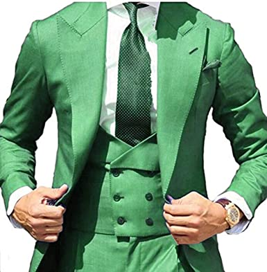 Suxiaoxi Mens Formal Three-Pieces Tuxedo Groom Suits Solid Color Business Suits