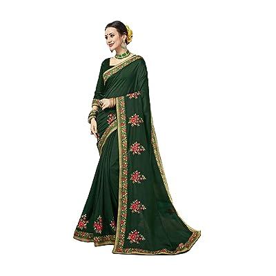 Saree for Women Bollywood Wedding Designer Bichitra, Jeni Silk Sari with Unstitched Blouse.: Ropa y accesorios