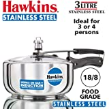 Hawkins Stainless Steel Wide Pressure Cooker, 3 litres, Silver