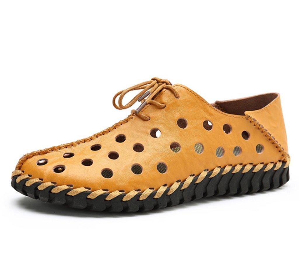 GLSHI Männer Freizeitschuhe 2018 Neue LederSandale Lace-up Loafer Komfort Atmungsaktive Fahr Schuhe Turnschuhe Formale Geschäfts Arbeit