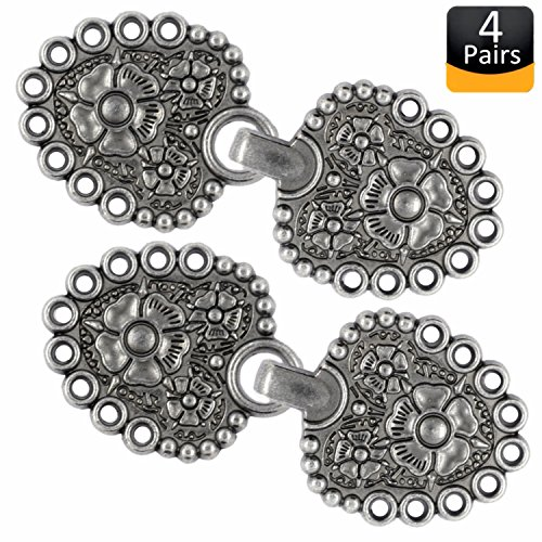 Bezelry Romantic Bouquet Cape or Cloak Clasp Fasteners . Pack of 4 Pairs . 62mm x 25mm Fastened. Sew On Hooks and Eyes Cardigan Clip (Gray Silver) by BEZELRY