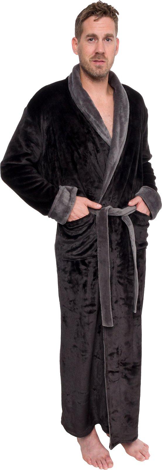 Ross Michaels Mens Long Robe - Full Length Big & Tall Bathrobe (Black & Grey, XXXL)