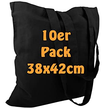 10 bolsas de algodon, con asas largas, Öko Tex 100