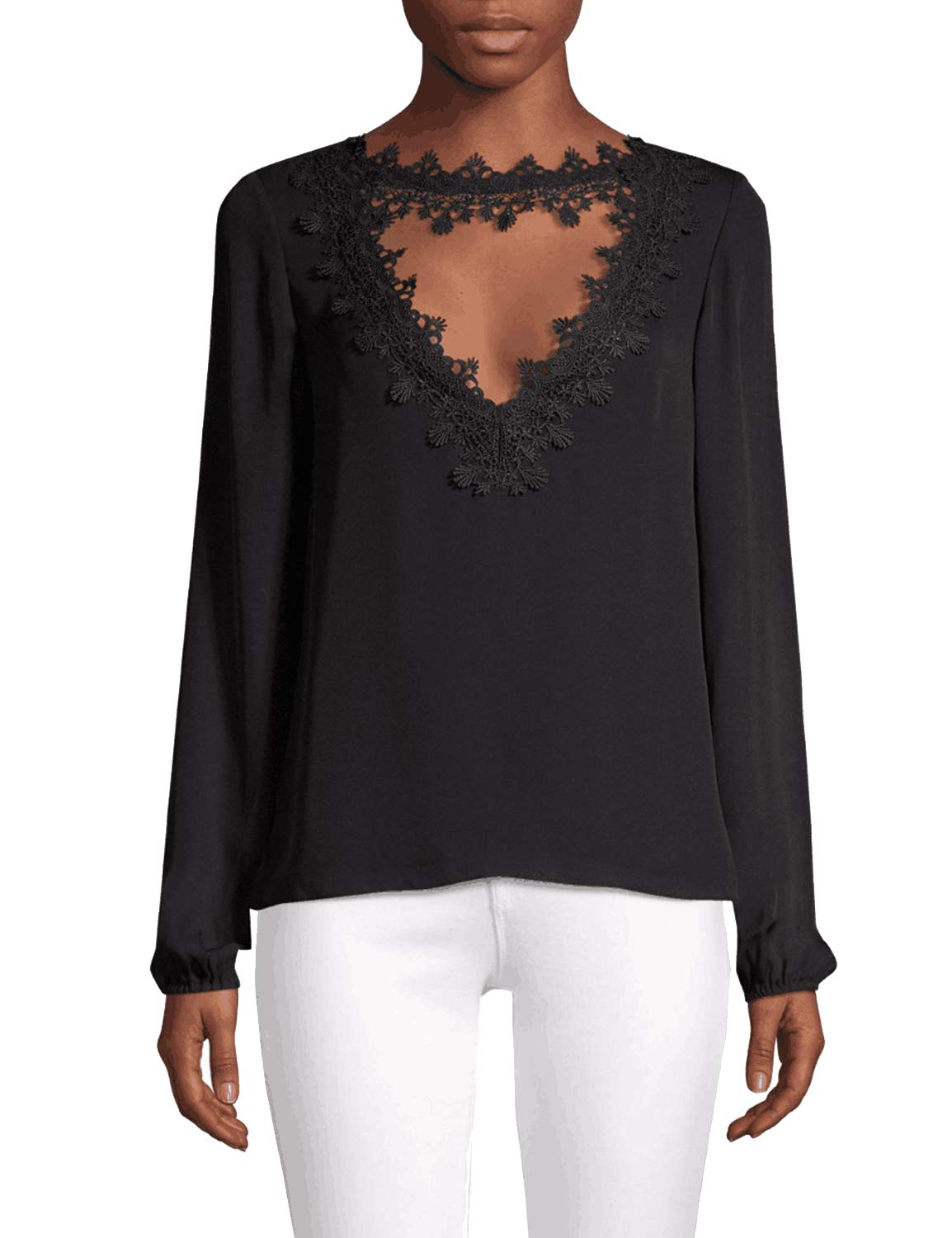 Blooming Jelly Womens Long Sleeve Lace Chiffon Keyhole Choker Blouse Shirt Black