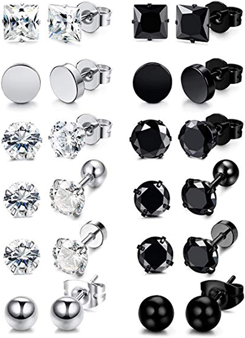Vcmart 36pieces Black Ear Taper Stretching Kit Surgical Steel Tapers with Plugs Piercing Jewelry Gauges 14G-00G
