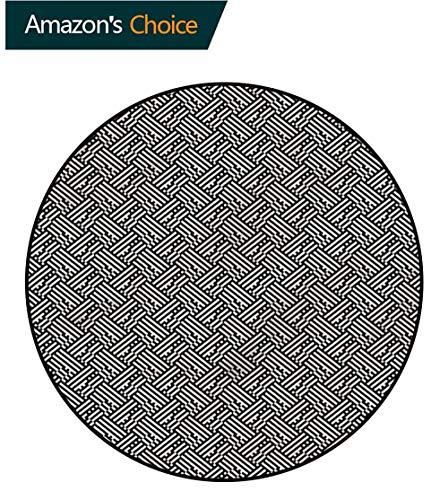 - RUGSMAT Checkered Art Deco Pattern Non-Slip Backing Round Area Rug,Interwoven Style Modern Design Non-Slip Fabric Round Rugs for Living Room Diameter-24