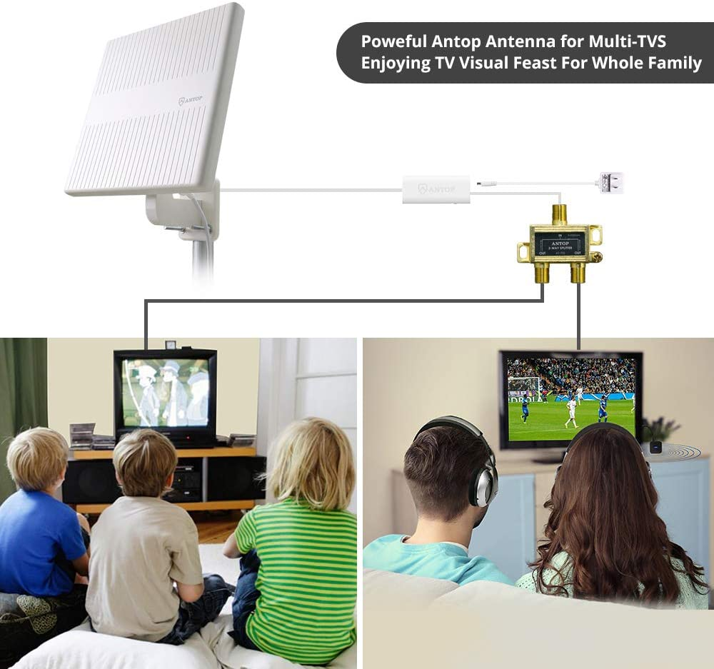 Outdoor TV Antenna for Multiple TVs ANTOP Omni Directional Amplified HDTV Antenna 4K 1080P VHF UHF TV Channels Reception with 16ft Coaxial Cable and Signal Splitter for 2 TVs AT-413BC5