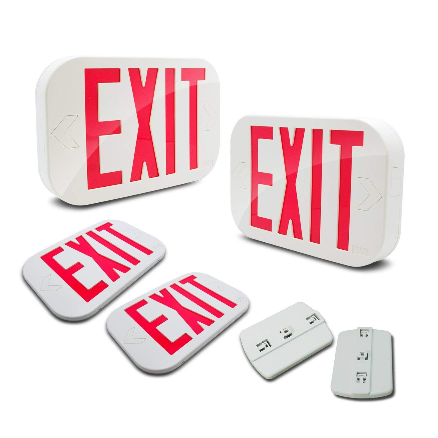 eTopLighting [2-Pack] SMD LED Exit Sign Emergency Light with Battery Back-Up/Red Letter, AGG2681