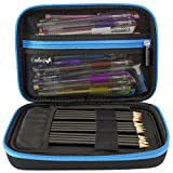 ColorIt Large Pencil Case Storage for Colored Pencils, Gel Pens, Markers, Brushes, Craft Supplies - [NEW BLACK LABEL] EVA Carrying Case Only (BLUE)