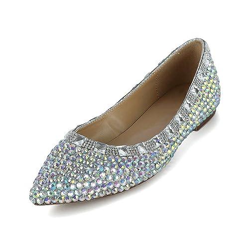 5bfc29e0 Lacitena Zapatos Planos de Fiesta de Color de Moda de Mujer Zapatos Planos:  Amazon.es: Zapatos y complementos