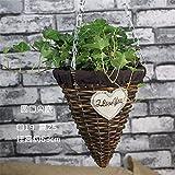 EXDJ Handmade wicker flower Basket hanging basket flower pot rattan flower pot hanging basket,D