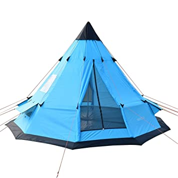 official photos d8f28 dc4f0 SAFACUS 6-7 Person Teepee Tent, Family Camping Tents with Windows and Mesh  Vents, 12' x 12' Tower Post Bell Tipi Tent for Camping Hiking Vacation