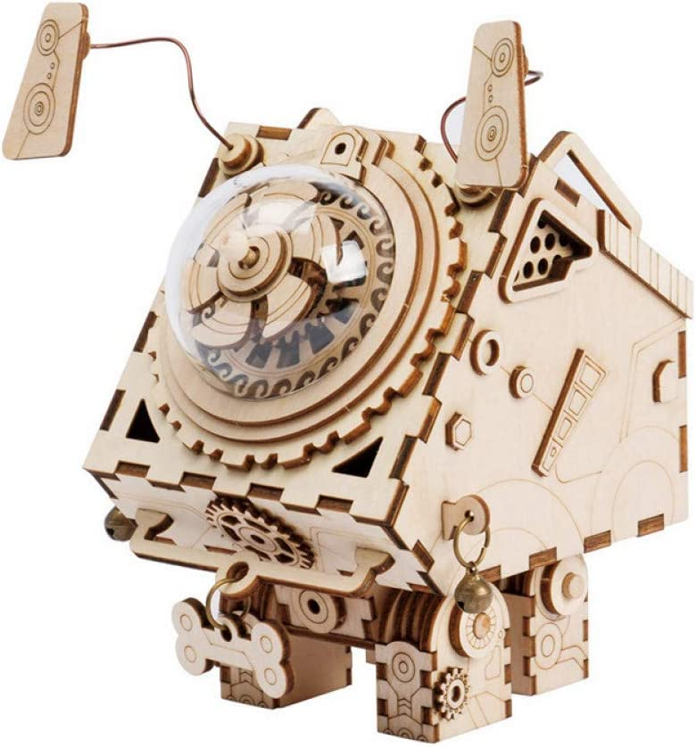 SHANYYH Music Box 6 Type DIY Wooden Clockwork Mobile Steampunk Music Box Home Decor Christmas Unusual Gift for My Boy