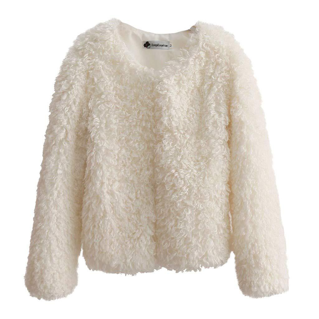 Fashionhe Warm Coat Women Plus Velvet Overcoat Solid Color Outwear O- Neck Cardigan Thickening Short Coat (White.XL)