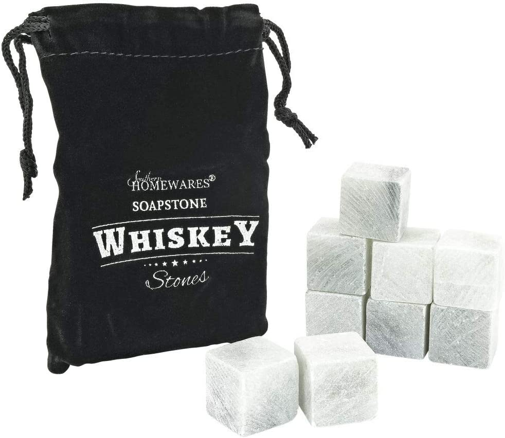 Southern Homewares Soapstone Whiskey Stones Chilling Rocks Beverage Cooler Set of 9 W/ Storage Bag
