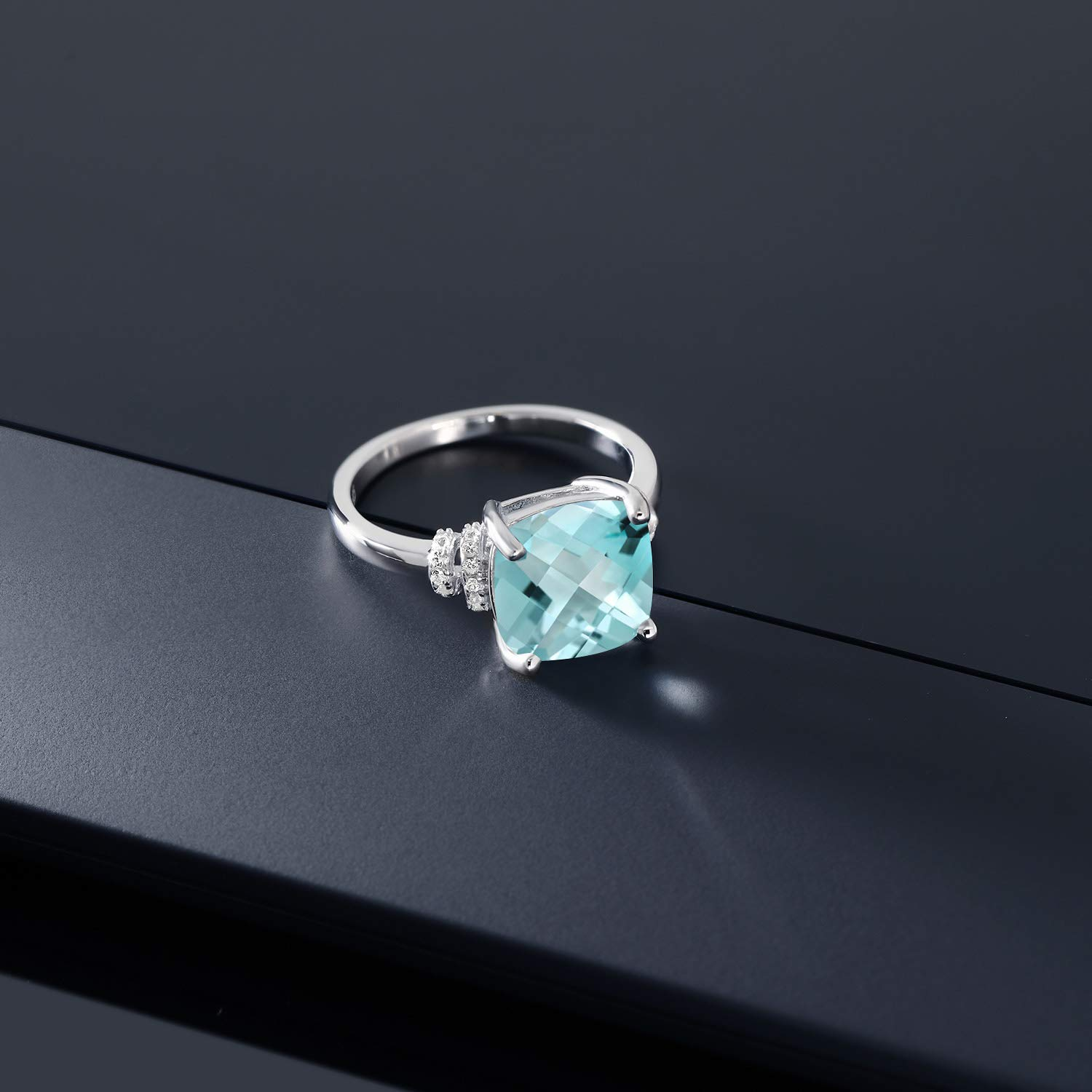 Gem Stone King 4.94 Ct Cushion Checkerboard Sky Blue Topaz 925 Sterling Silver Ring