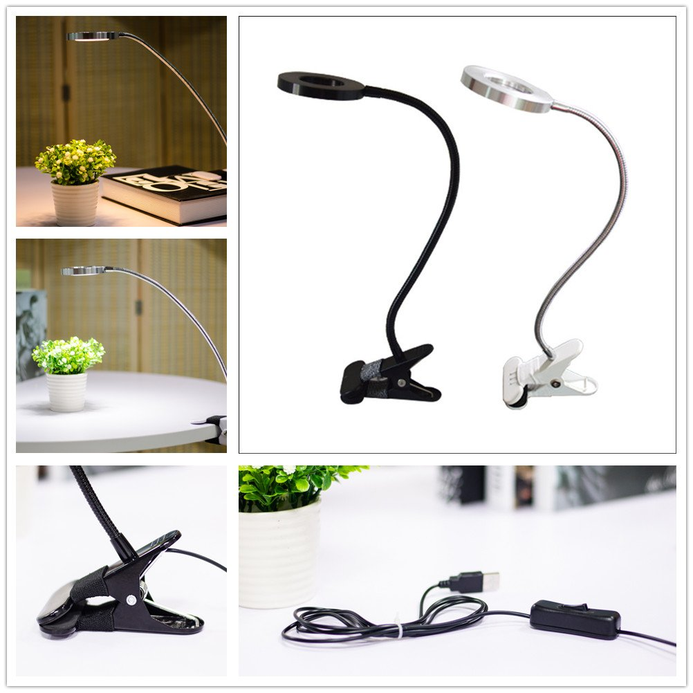 USB Eye Protection LED Clip Table Light with Flexible Goose Neck Cute Bed Lamp Decoration(Silver Shell Warm Light)