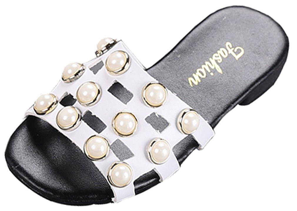 VECJUNIA Girls Sandal Slipper with Pearls Cut Out Slide On Waterproof Shoes