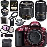 Nikon D5300 DSLR Camera with AF-P 18-55mm VR Lens (Red) 55-300mm f/4.5-5.6G ED VR Lens + Sony 128GB SDXC Card + Carrying Case Bundle