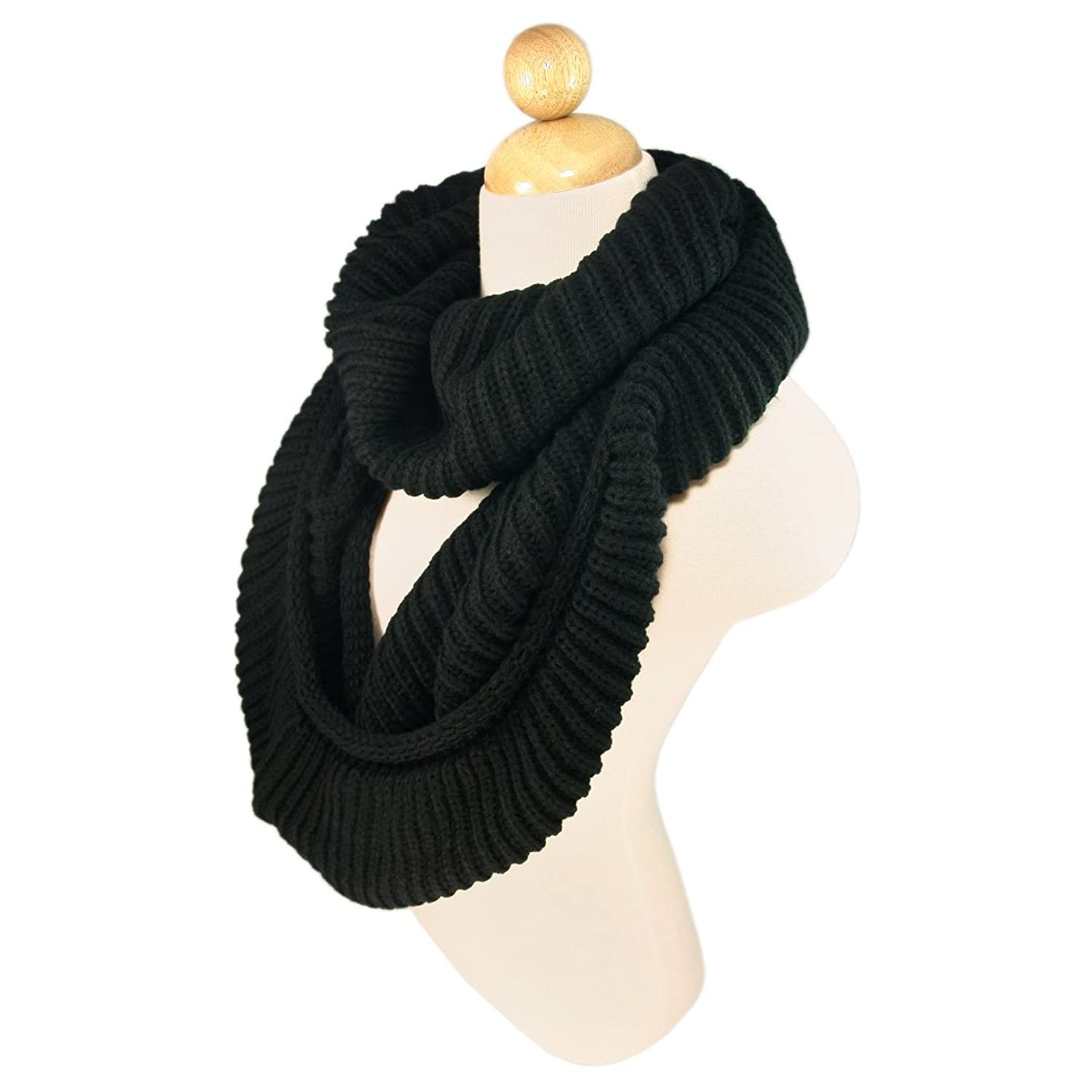 TrendsBlue Premium Winter Knit Warm Infinity Scarf, Black at ...