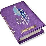 Gotteslob Gotteslobhülle Kreuz 2 blau Filz mit Namen bestickt hellgrau grau dunkelgrau lila blaugrau