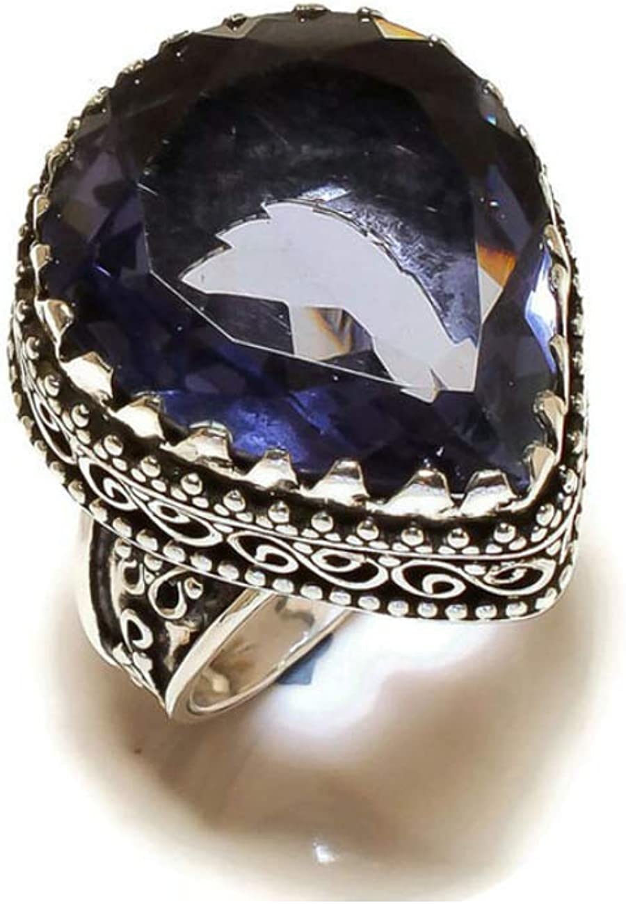 Jewels House Blue Amethyst Pear Gemstone Silver Plated Handmade Vintage Style Ring US-9