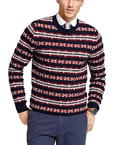 Tommy Hilfiger Lambswool Blend Striped Crewneck Sweater Navy and Red XX-Large (Lambswool Crewneck Sweater Striped)