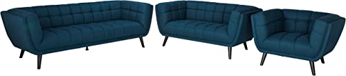 Modway Bestow Performance Velvet Living Room Sofa, Loveseat and Armchair 3-Piece Set in Blue