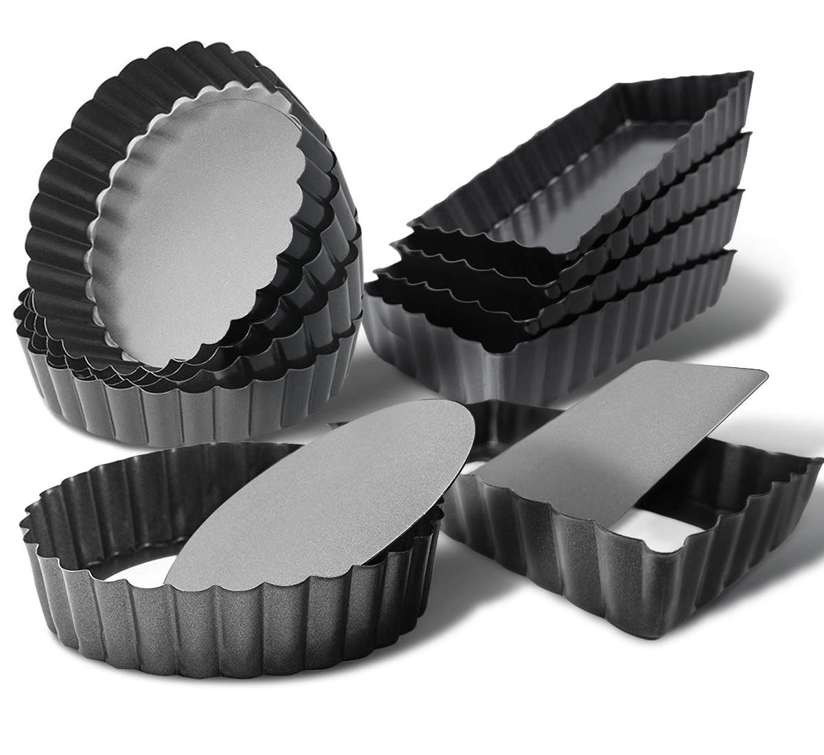 Tart Quiche Pan Set,Nonstick Removable Loose Bottom Mini Heavy Duty Fluted Pie Cheesecake Molds