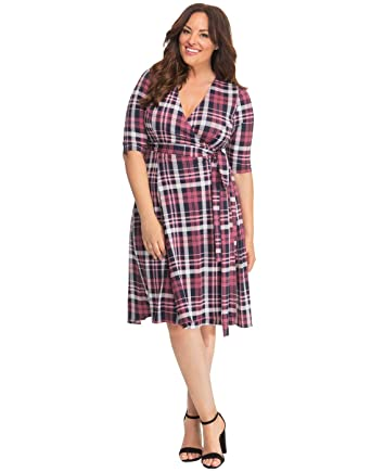 eb961468fd3 Kiyonna Women s Plus Size Essential Wrap Dress at Amazon Women s Clothing  store