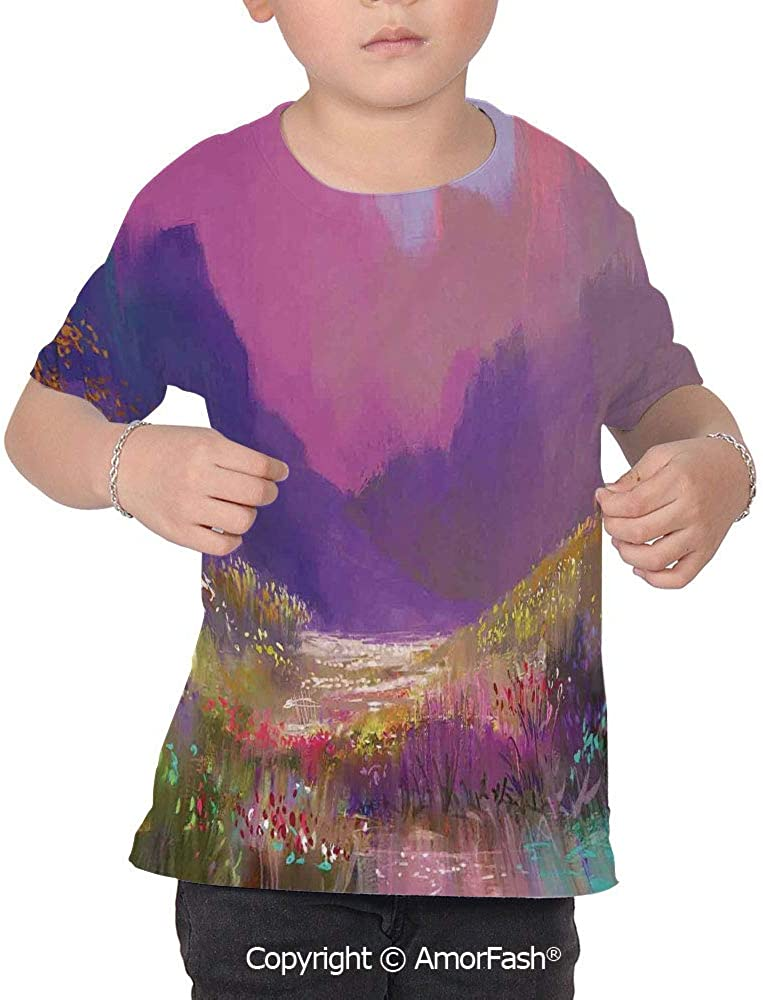 PUTIEN Flower Lovely Printed T-Shirts,Crew Neck T-Shirt of Girls,Polyester,Oil Painting