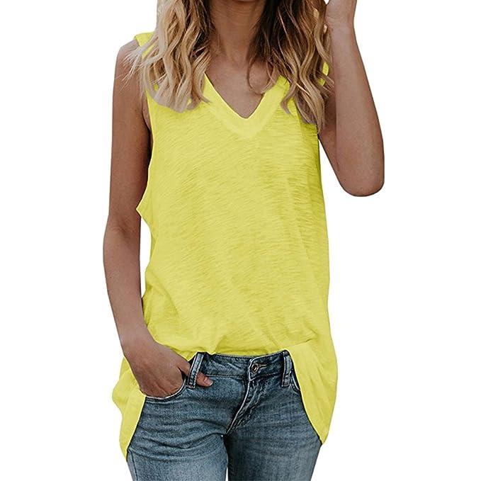 2018 Summer Womens Vest Mediados De Largo Casual con Cuello En V Camiseta Sin Mangas Suelta Cómodo Vestido Chaleco Moda Pure Color Blusa De Mujer 8 Colores ...