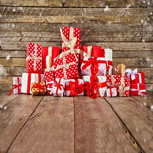 Leyiyi 10x10ft Photography Background Merry Christmas Backdrop Happy New Year Vintage Xmas Holliday Western Barn Rustic Wooden Cottage Gifts Snowing Winter Lay Flat Photo Portrait Vinyl Studio Prop