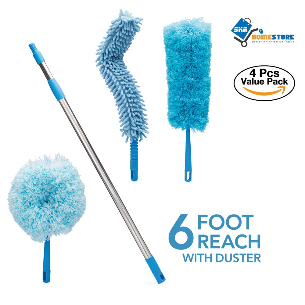 4pcs Best Microfiber Duster with Extension Pole | Large Fluffy Microfiber Cobweb Duster, Extra Large Microfiber Feather Duster, Flexible Microfiber Ceiling & Fan Duster | 4-Foot Telescopic Pole by SKA HomeStore (Image #2)